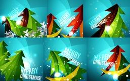 Set of colorful shiny Chrismas cards Stock Photo