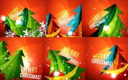 Set of colorful shiny Chrismas cards Royalty Free Stock Image