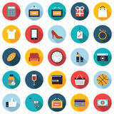 Set of 25 colorful shopping flat icons. Stock Images