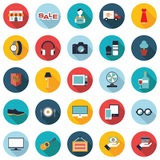 Set of 25 colorful shopping flat icons. Set of 25 simple&editable colorful shopping flat icons Stock Photography