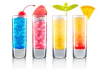 Set of colorful shot cocktails isolated on white. Background with clipping path Royalty Free Stock Images