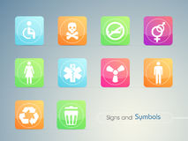 Set of colorful signs and symbols. Royalty Free Stock Images