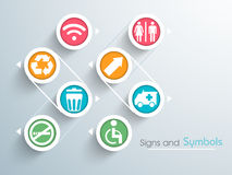 Set of colorful signs and symbols. Royalty Free Stock Photo