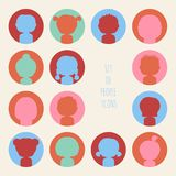 Set of colorful silhouette people icons. Funny Royalty Free Stock Photos