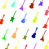 Set Colorful Silhouettes of Different Guitars. Guitar Background. Set of Colorful Silhouettes of Different Guitars Royalty Free Stock Photo