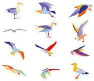 Set of colorful silhouettes of seagulls. Mosaic in different colors  on white background Stock Image