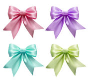 Set of colorful silk ribbon bows Stock Photo
