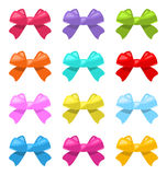 Set Colorful Simple Gift Bows Isolated Stock Image
