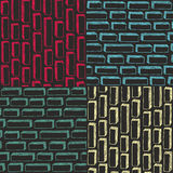 Set of colorful simple patterns with bricks in doodle stile. Stock Photography