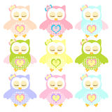Set of Colorful sleepy Owl Stock Images