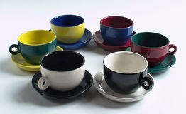 Set of colorful small cups Stock Images
