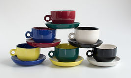 Set of colorful small cups Royalty Free Stock Photos