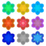 Set of Colorful Snowflakes  Royalty Free Stock Photos