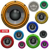 Set of Colorful Sound Load Speakers Royalty Free Stock Photos