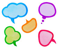 Set of Colorful Speech Bubbles or Clouds. Watercolor Hand Drawn and Painted, Isolated on White Royalty Free Stock Images