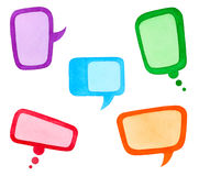 Set of Colorful Speech Bubbles or Clouds. Watercolor Hand Drawn and Painted, Isolated on White Stock Photography