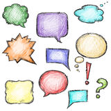 Set of colorful speech bubbles, hand-drawn Stock Photos