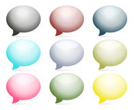 Set of 9 colorful speech bubbles. Set of 9 colorful bubbles with light shadows Royalty Free Stock Image