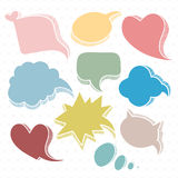 Set of colorful speech bubbles. Sketch, hand drawn illustration. Can be used as a design element stock illustration