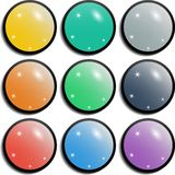 Set of colorful spherical glossy buttons Stock Images