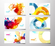 Set of colorful splash gift cards. Royalty Free Stock Photo