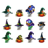 Set of colorful spooky halloween icons. Vector illustration Stock Image