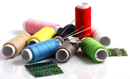 Set of colorful spools of thread Stock Photography