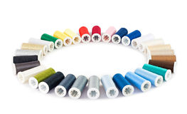 Set of colorful spools of thread Stock Image