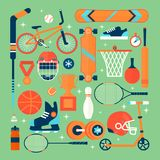 Set of colorful sport icons.Isolated vector objects.Tourism, sports, fitness and a healthy lifestyle. Flat illustration Royalty Free Stock Photos