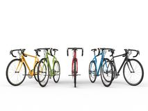 Set of colorful sports bicycles. Isolated on white background Royalty Free Stock Photos