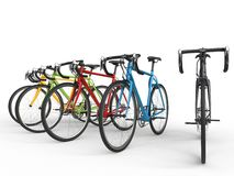 Set of colorful sports race bicycles Royalty Free Stock Image