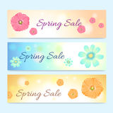 Set of colorful spring season sale banner Royalty Free Stock Photos