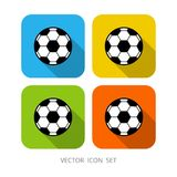 Set of 4 colorful square cartoon soccer ball. Stock Illustration