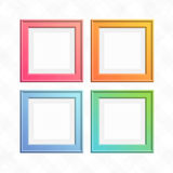 Set of colorful square frames. Square color frame set. Empty wooden photo frames collection  on light background. Art gallery of colored, modern picture Stock Image