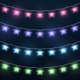 Set of colorful star garlands Stock Image