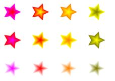 Set of colorful stars. Illustrated set of different colored stars isolated on white background Royalty Free Stock Photography