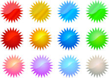 Set of Colorful Stars Stock Photo