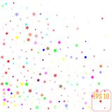 Set of Colorful Stars on White Background. Starry Pattern Royalty Free Stock Image
