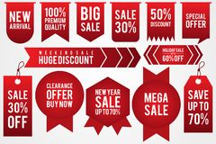 Set colorful sticker discount label templates with different percentages and shaped. Flat labels for advertising. Vector illustration EPS.8 EPS.10 Royalty Free Illustration