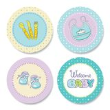 Set of colorful stickers for boys birthday Stock Photos