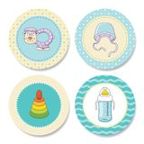 Set of colorful stickers for boys birthday Royalty Free Stock Image