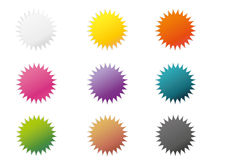 Set of 9 colorful stickers Royalty Free Stock Image