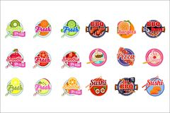 Flat vector set of stickers for fruit and vegetable smoothies, BBQ sauce and ice-cream. Original labels for packaging of stock illustration