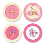 Set of colorful stickers for girl's birthday Royalty Free Stock Image