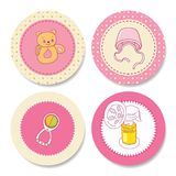 Set of colorful stickers for girls birthday Royalty Free Stock Photos