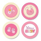 Set of colorful stickers for girls birthday Stock Photography