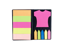 Set of colorful sticky note in black leatherette case Stock Photos