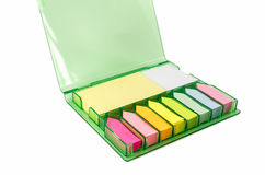 The set of colorful sticky note paper in a box isolated Royalty Free Stock Photos