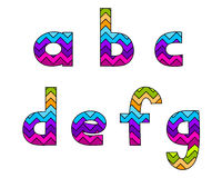 Set of Colorful Striped Lowercase Alphabets Part 1 Stock Image