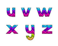 Set of Colorful Striped Lowercase Alphabets Part 4 Stock Photography
